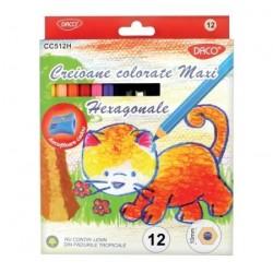 Creioane colorate 12 culori Maxi hexagonale Daco + ascutitoare