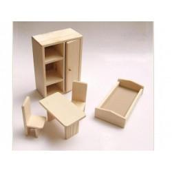 Mobilier living / dormitor de lemn pentru papusi