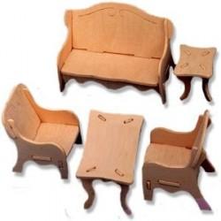 Puzzle 3D mobilier living de lemn pentru papusi