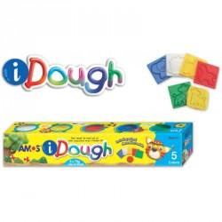 Set Plastilina Amos iDough 5 culori x 75 g + accesorii