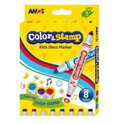 Carioca AMOS Color & Stamp 8 culori / 2 capete