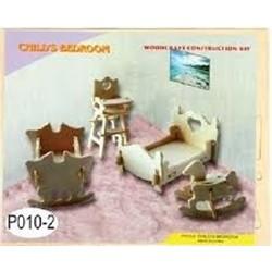 Joc puzzle lemn 3D mobilier camera copil pentru papusi