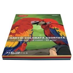 Set 100 coli Hartie colorată asortată 10 culori A4 Daco HR801