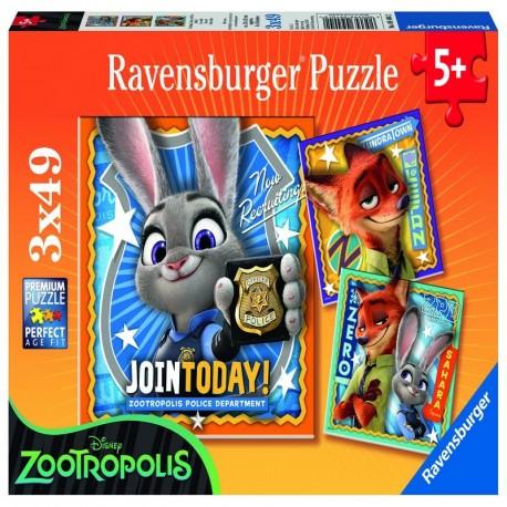 Puzzle Zootropolis, 3 X 49 Piese  Ravensburger