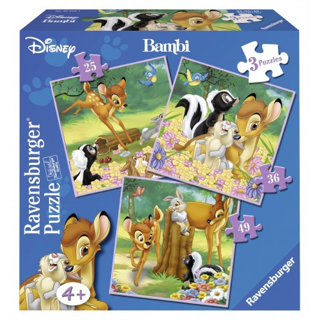 PUZZLE BAMBI, 3 BUC IN CUTIE, 25/36/49 PIESE
