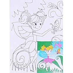 Set pictura Panza imprimata zana + culori