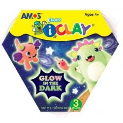 Set Plastilina iClay Amos Glow in the Dark 3 culori
