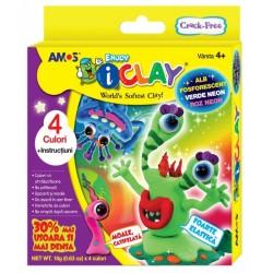 Set Plastilina iClay Amos 4 culori 2 neon+1 pastel+1 fosforescenta