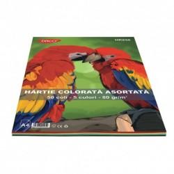 Hartie colorata HR850 A4 50 coli 5 cul DACO 80g/mp
