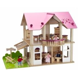Vila din lemn pentru papusi, dotata cu mobila si papusi Eichhorn 100002513