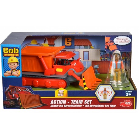 Action Team Vehicul Muck + figurina Leo, Bob Constructorul