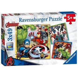 Puzzle Marvel Avengers, 3x49 Piese, Ravensburger