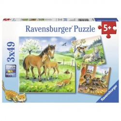 Puzzle Animale Si Pui, 3x49 Piese