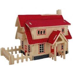 Joc puzzle lemn 3D Ferma acoperis rosu