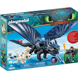 Playmobil Hiccup, Toothless si Pui de Dragon PM70037