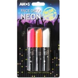 Face Deco AMOS Neon set de 3 culori: roz, portocaliu, alb