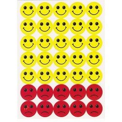 Set 10 folii cu Stickere Smiley si fete triste