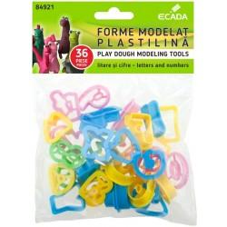 Set 36 Forme pentru modelat plastilina litere si cifre, Ecada