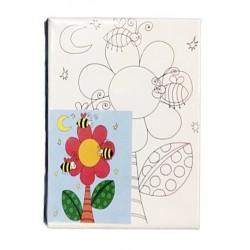 Panza canvas pe sasiu + acuarele, Model Floare si albinute, 15x20 cm