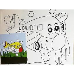 Panza canvas pe sasiu + acuarele + pensula, Model avion