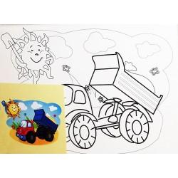 Panza canvas pe sasiu + acuarele, Model basculanta , 15x20 cm