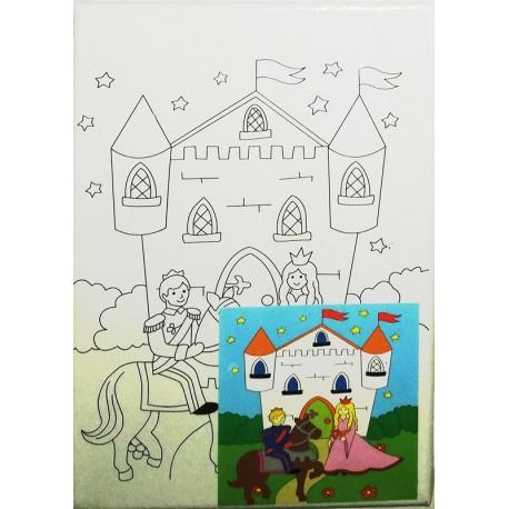 Panza canvas pe sasiu + acuarele, Model Castel , 15x20 cm