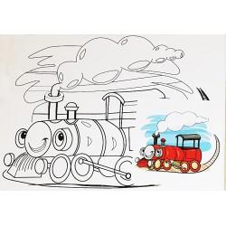 Panza canvas pe sasiu + acuarele, Model Locomotiva, 15x20 cm