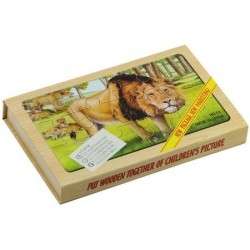 Puzzle lemn animale salbatice, 4 buc/set