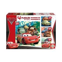 """Joc puzzle progresiv 12-16-20-25 piese """"Disney Cars"""" Educa"""