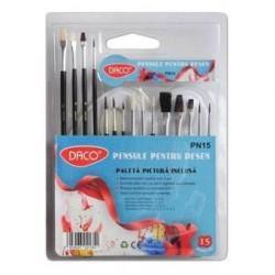 Set 15 pensule cu paleta Acuarele inclusa Daco Pn15
