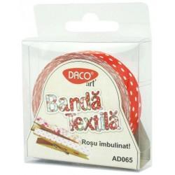 Banda textila cu adeziv  Rosu imbulinat Daco Art