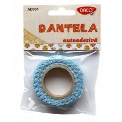 Dantela bumbac autoadeziva albastra Daco Art AD051/3
