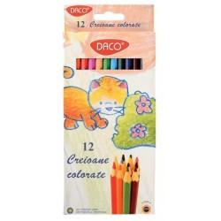 Creioane colorate 12 culori hexagonale Daco + ascutitoare