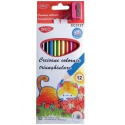 Creioane colorate 12 culori triunghiulare Daco + ascutitoare