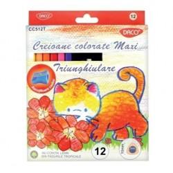 Creioane colorate 12 culori Maxi triunghiulare Daco + ascutitoare