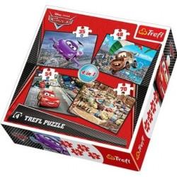 """Joc puzzle 4 in 1 """"Cars 2"""" Trefl"""