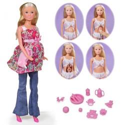 """Set Steffi Love """"Welcome Baby"""" papusa gravida cu nou nascut   Setul contine papusa Steffi gravida 29 cm, un bebelus si accesorii"""