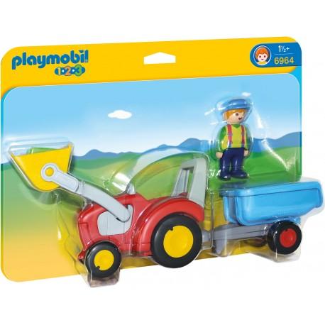 Playmobil 1.2.3 Tractor Cu Remorca PM6964