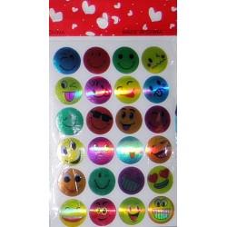 Set 10 folii cu Stickere Smiley diverse modele si culori
