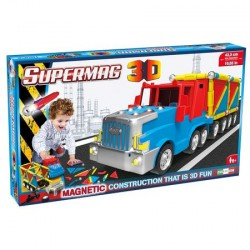 Jucarie cu magnet camion, Supermag 3D, 126 Piese