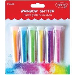 Pudra glitter Set 6 Curcubeu Daco Art  PU606