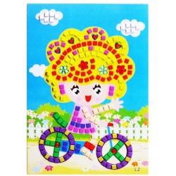 Joc creativ mozaic fetita pe bicicleta