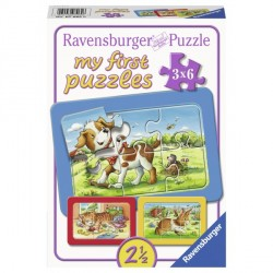 Puzzle Animalute, 3X6 Piese
