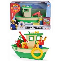 Barca de pescuit a lui Charlies cu figurina, Pompierul Sam, Simba Toys