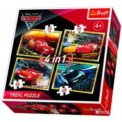 """Joc puzzle 4 in 1 """"Cars 3"""" Trefl"""