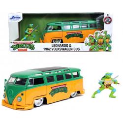 Autobuz metalic Volkswagen 1962 Testoasele Ninja cu figurina Leonardo