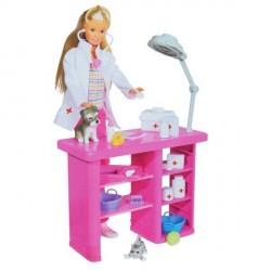 Papusa Steffi Medic veterinar cu animalute si accesorii Simba Toys